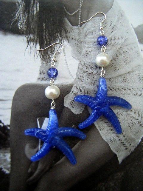 Orecchini STELLE MARINE blu perle cristalli Primavera Estate earrings starfish