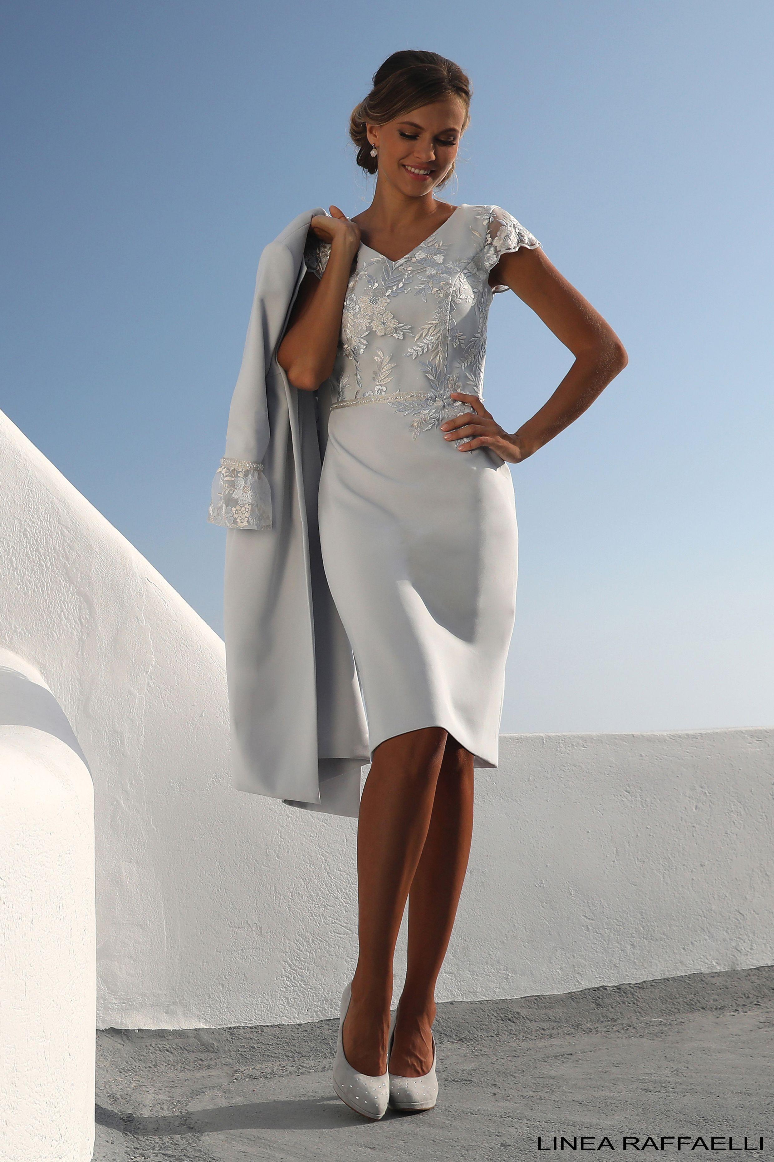 0fe78ca49172f5 Linea Raffaelli Santorini S19 collection Set 70 | Silver grey coat &  matching dress with lace
