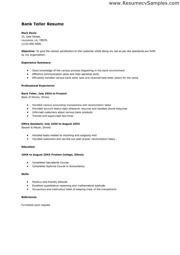 sample resume for bank teller position http jobresumesample