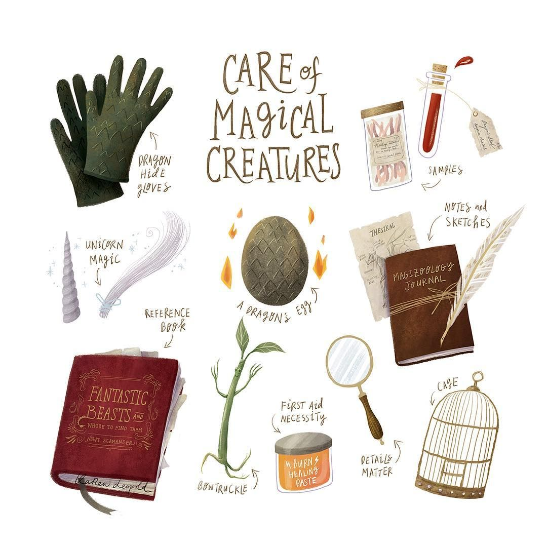Get Your School Supplies Ready First Lesson Is Care Of Magical Creatures Watch Out For Those Blast Ended Skre Harry Potter Art Harry Potter Drawings Hogwarts