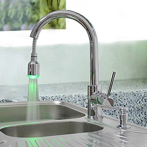 Merveilleux Brass Pull Down Kitchen Faucet With Color Changing Led Light   Spring