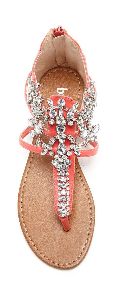 Coral jeweled sandal...ADD diy ♥❤ www.customweddingprintables.com #customweddingprintables