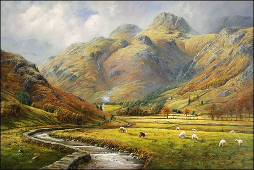 Langdale Valley Jpg 500 335 Pixels Landscape Paintings Lake District Landscape