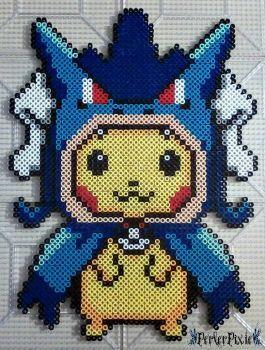 Pikachu In A Gyarados Hoodie By Perlerpixie Perler Bead