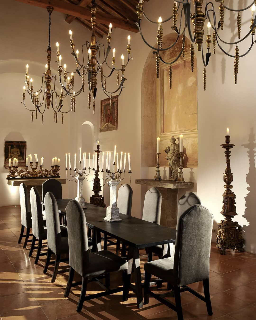 """16 Absolutely Gorgeous Mediterranean Dining Room Designs: Castello Di Reschio On Instagram: """"The Height And Light Of"""