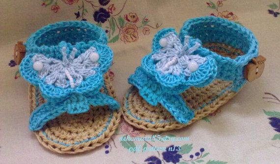 Crochet Sandals with Butterfly for Baby pattern pdf di Nekomaru85