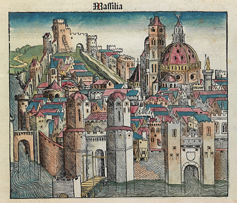 marseille illustration from the nuremberg chronicle 1493 cities pinterest medieval books. Black Bedroom Furniture Sets. Home Design Ideas