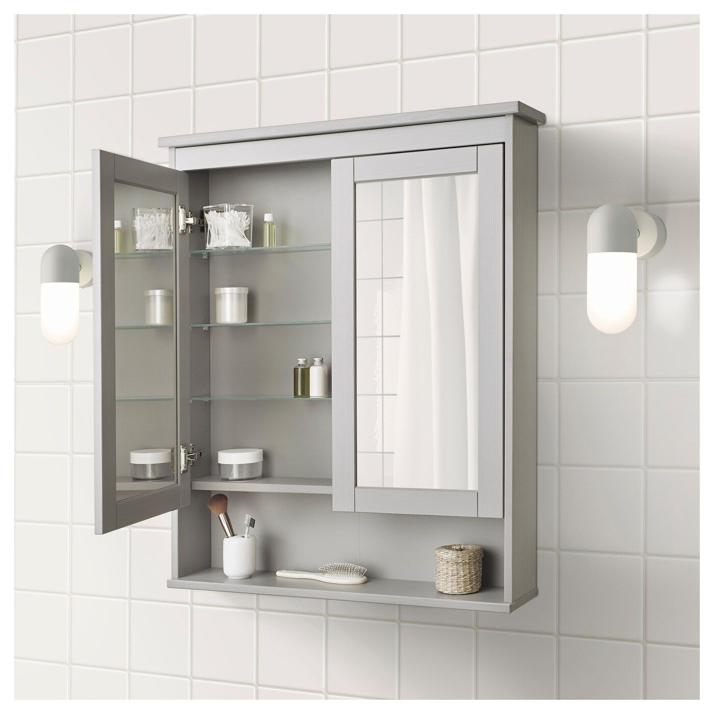 Hemnes Mirror Cabinet With 2 Doors Grey 83x16x98 Cm Bathroom