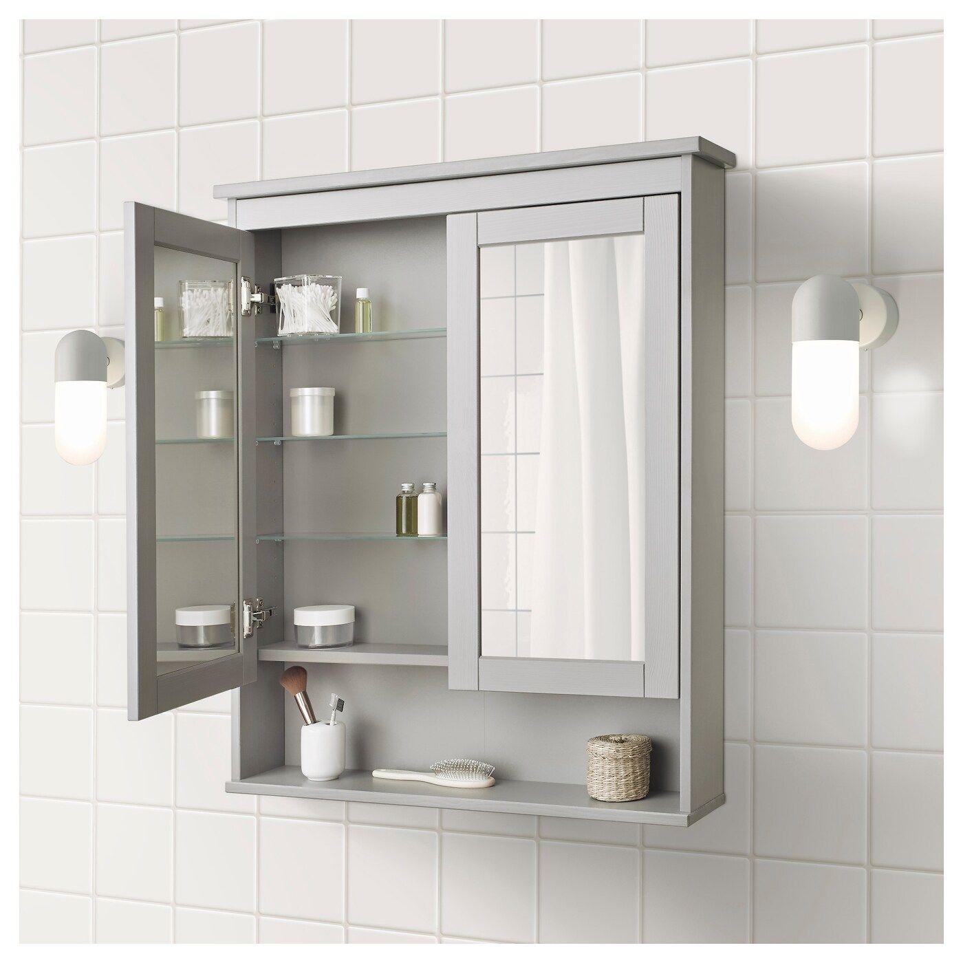 Hemnes Grey Mirror Cabinet With 2 Doors 83x16x98 Cm Ikea Mirror Cabinets Ikea Hemnes Mirror Bathroom Mirror Cabinet