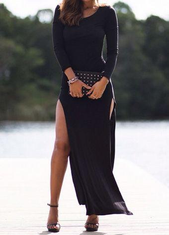 schmales Kleid Langarm mit Schlitz-schwarz 14.72