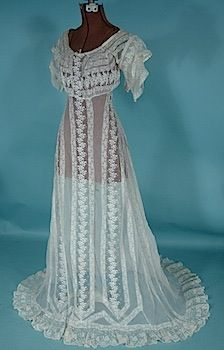 1912 White Embroidered Lace Net Slight Trained Wedding Gown!   AntiqueDress.com - 1850-1920s