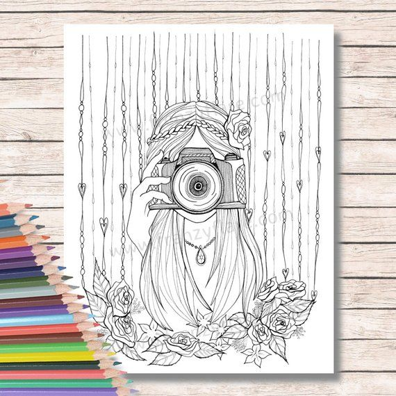 Printed Coloring Pages For Adults Or Kids Girl With Camera