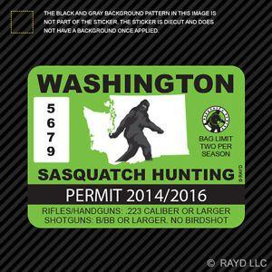 wa. bigfoot | Washington-Sasquatch-Hunting-Permit-Sticker-Die-Cut-Decal-Bigfoot ...