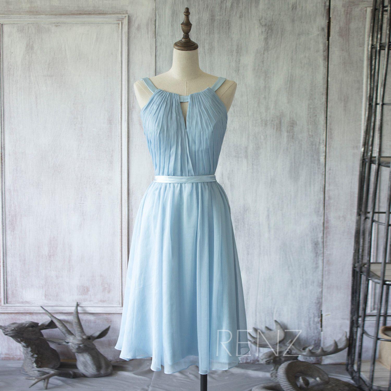 2015 Short Sky Blue Bridesmaid dress, A line Wedding dress, Short ...