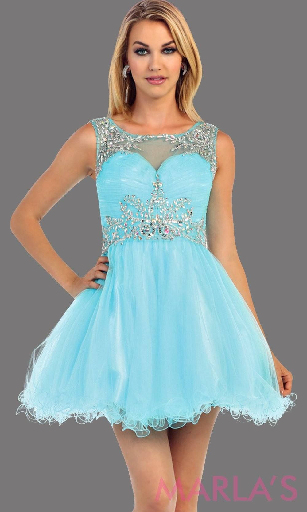 Short Puffy Aqua Dress With Rhinestone Bodice And Built In Cups This Is The Perfect Light Blue Gra Strapless Chiffon Dress Short Tulle Skirt Tulle Skirt Dress [ 1666 x 1000 Pixel ]