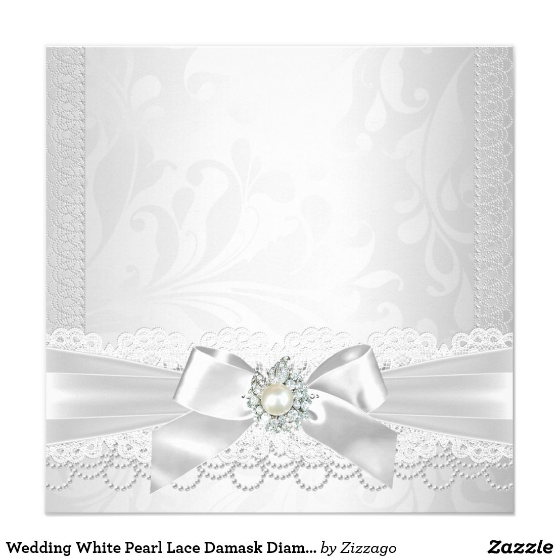 Wedding White Pearl Lace Damask Diamond Silver Invitation