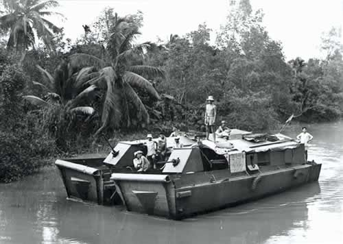 French patrol boat on a river in Indochina as part of the the Dinassaut operations there.