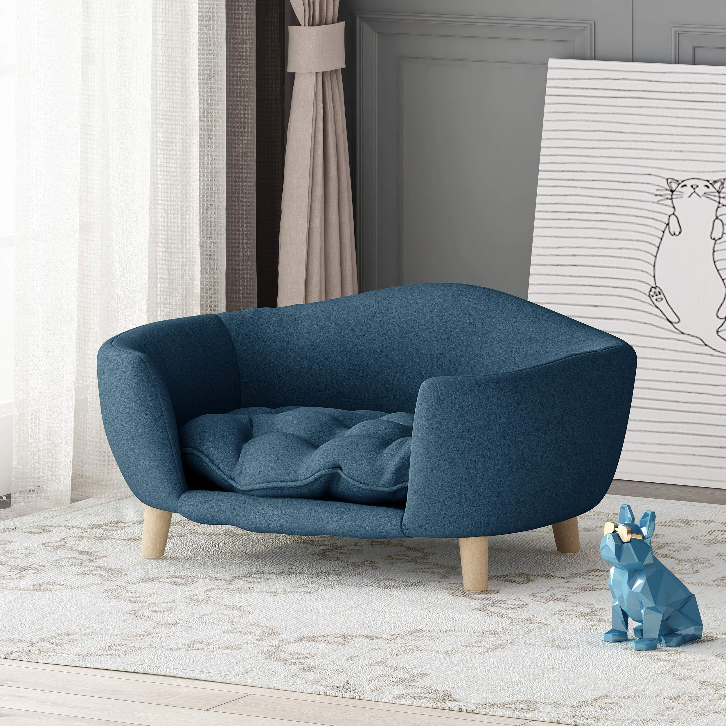 Samuel Mid Century Small Plush Pet Bed, Navy