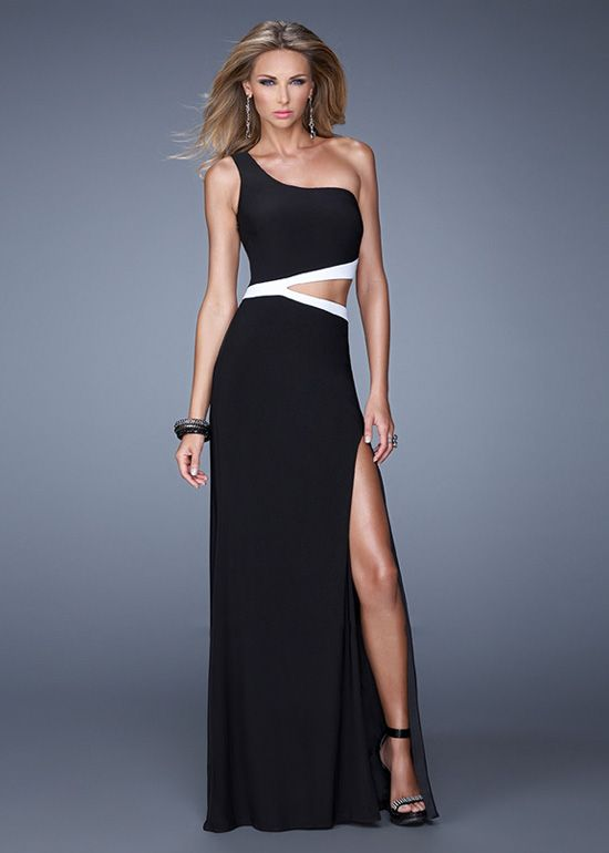 mind-blowing Fitted Black White One Shoulder Side Cutout High Slit ...