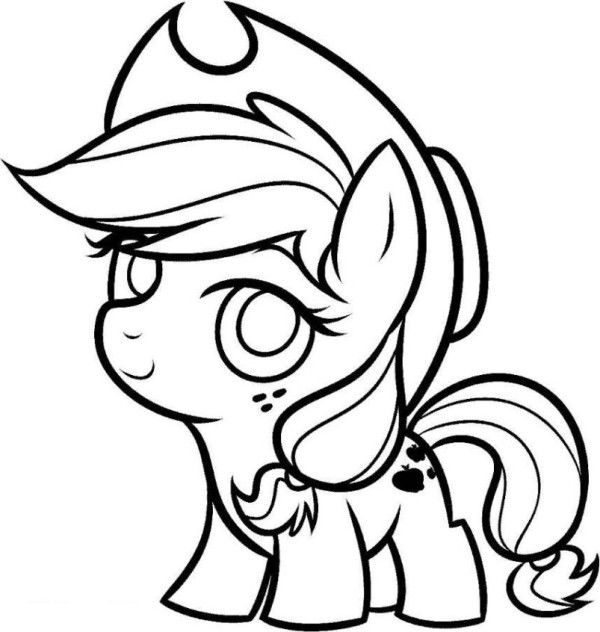 My Little Pony Coloring Pages Cute Baby Applejack | Coloring Book ...