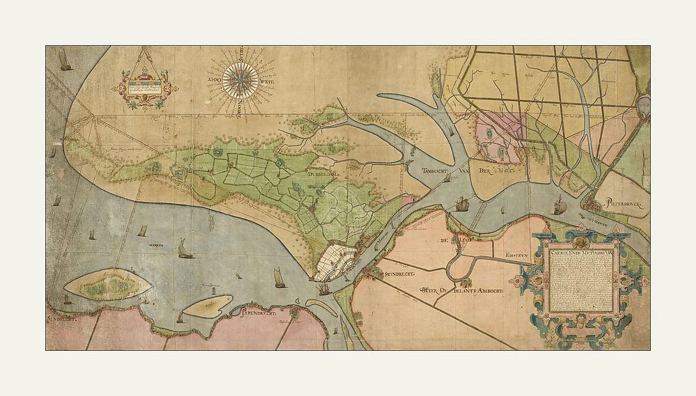 Oude Kaart Van De Omgeving Van Dordrecht Oude Kaarten