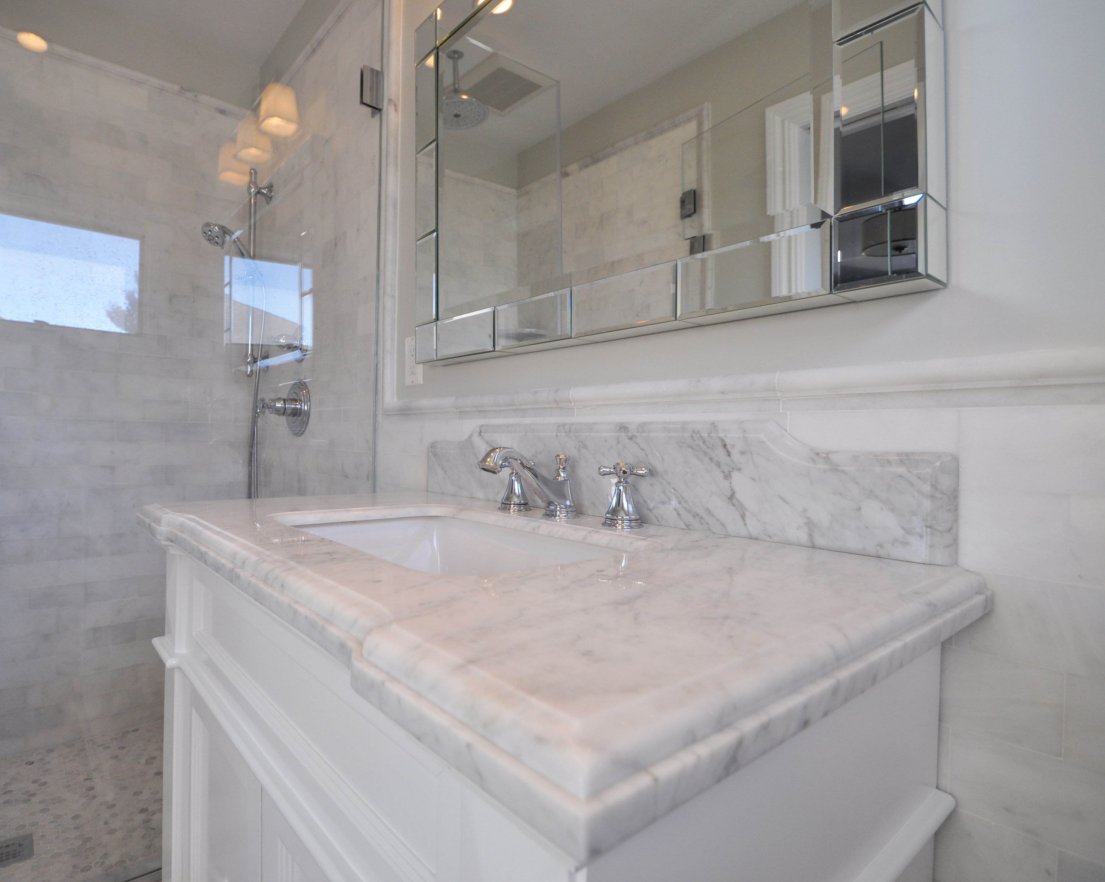 Marble Vanity top with Waterfall Edge & Chrome Fixtures