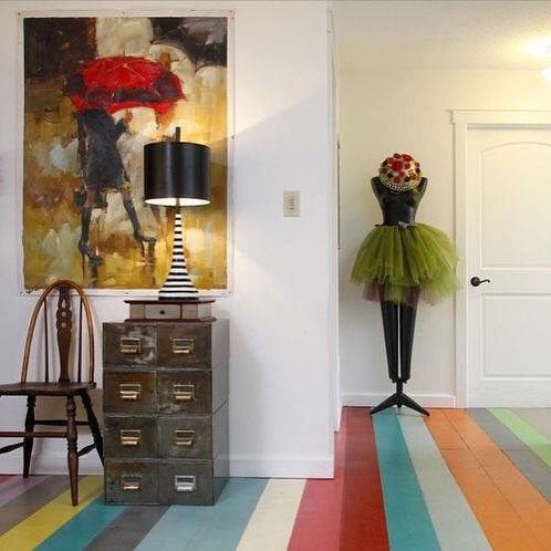 Gorgeous multi-color Chalk Paint floor created and painted by Annie Sloan  Stockist Fig