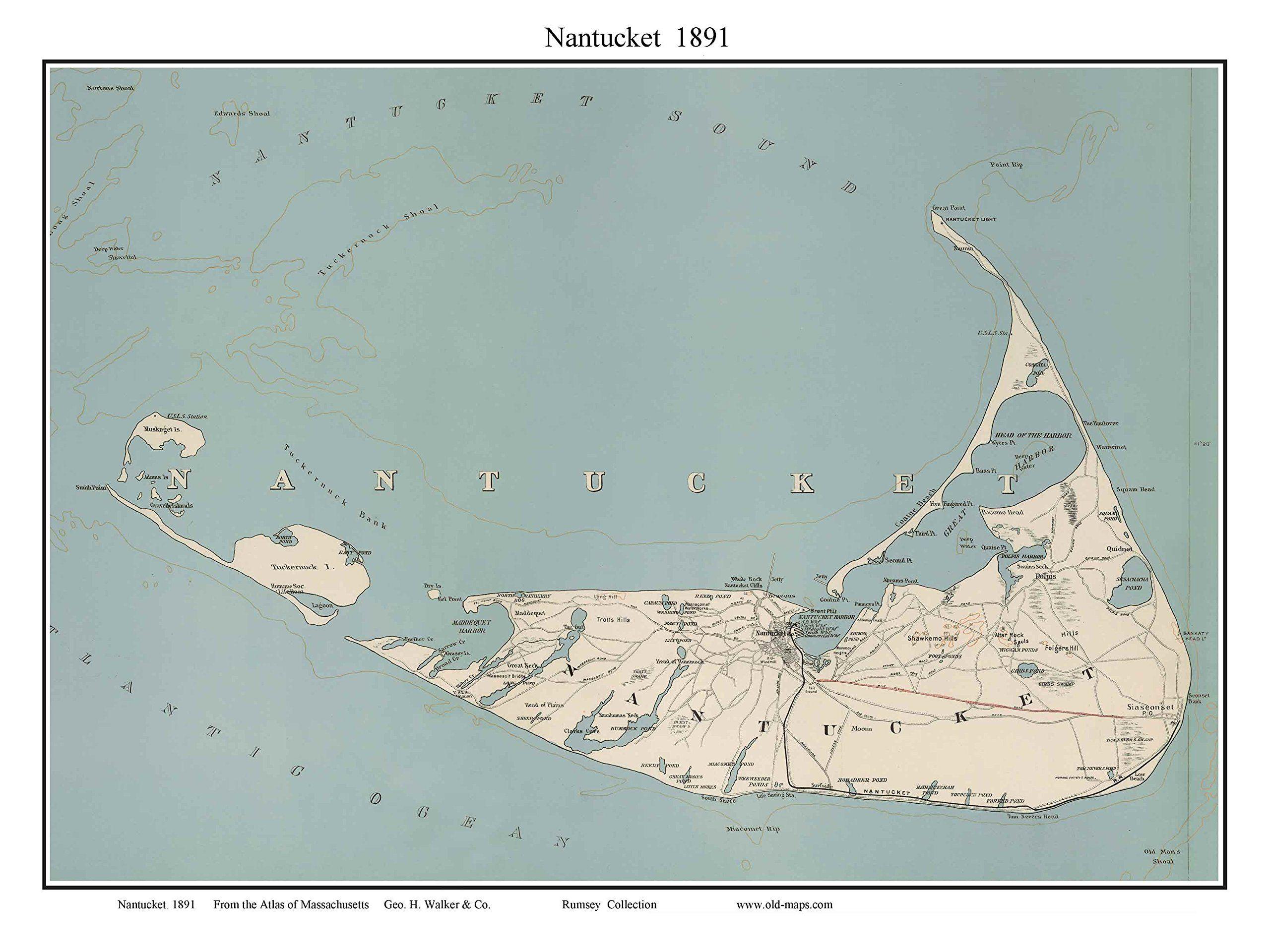 Nantucket map reprint massachusetts this old map of nantucket