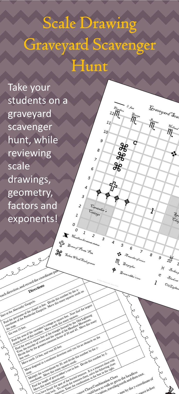 Graveyard Scale Drawing Scavenger Hunt Activity Halloween Math Activities Scale Drawing Holiday Math Activities [ 1619 x 736 Pixel ]