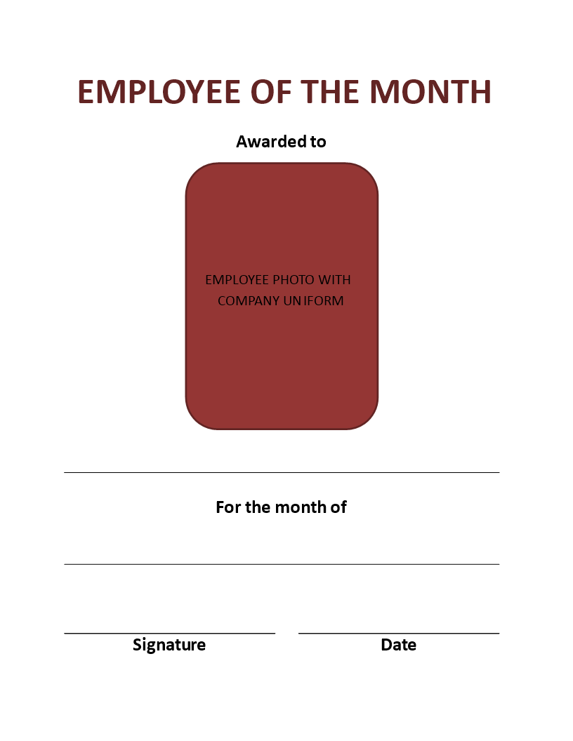 employee of the month certificate portrait