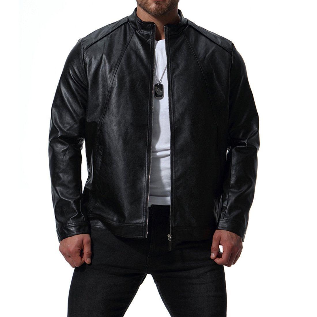 Mens Moto Oversize Loose Zipper Up Solid Color Stylish Pu Leather Jacket Mens Leather Blazer Jackets Men Fashion Leather Jacket Men [ 1100 x 1100 Pixel ]