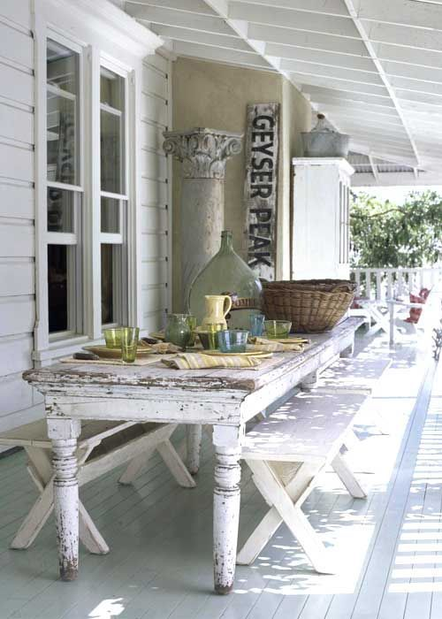 Outside dining outside shabby chic rustic french country decor idea picnic  table - Outdoor Living, Vintage, Porch, Patio, Deck, Balcony, Decor, Style