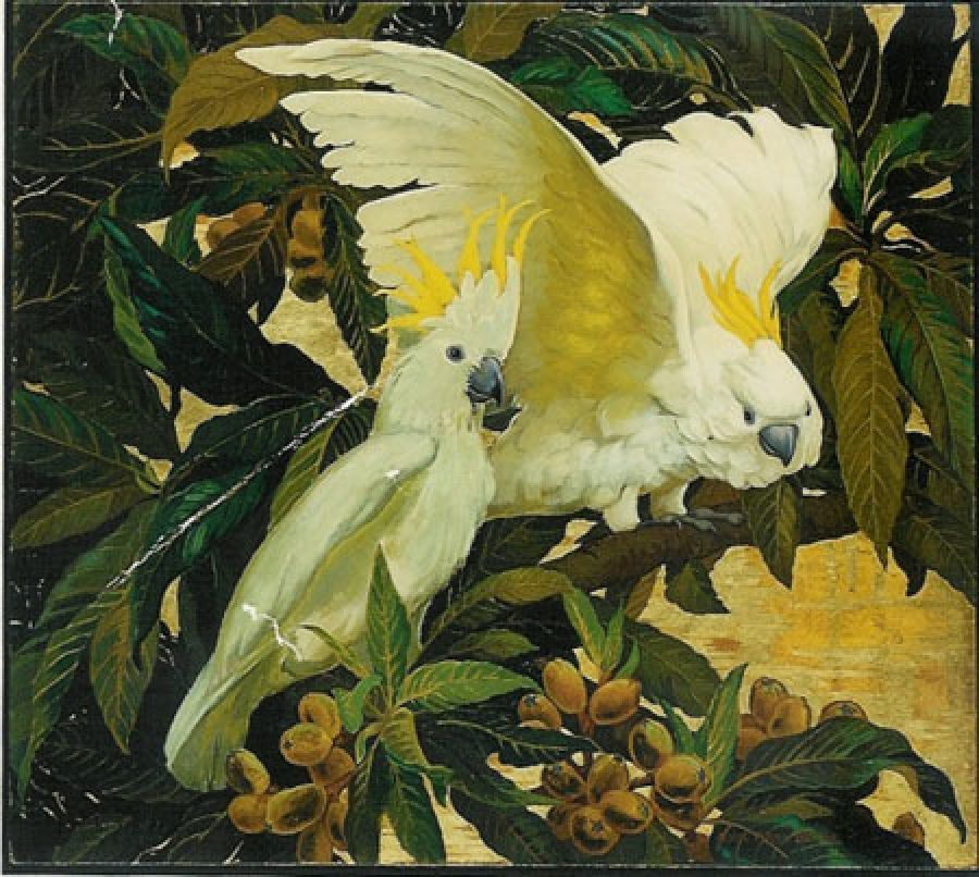 Jessie Arms Botke - White Cockatoos, oil and gold leaf on panel. Sold.
