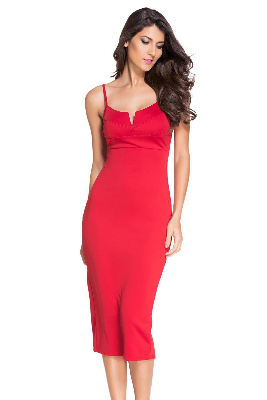 Red Plunging V Neck Midi Dress ChicLike.com Robes Midi 2c72c3bbe24