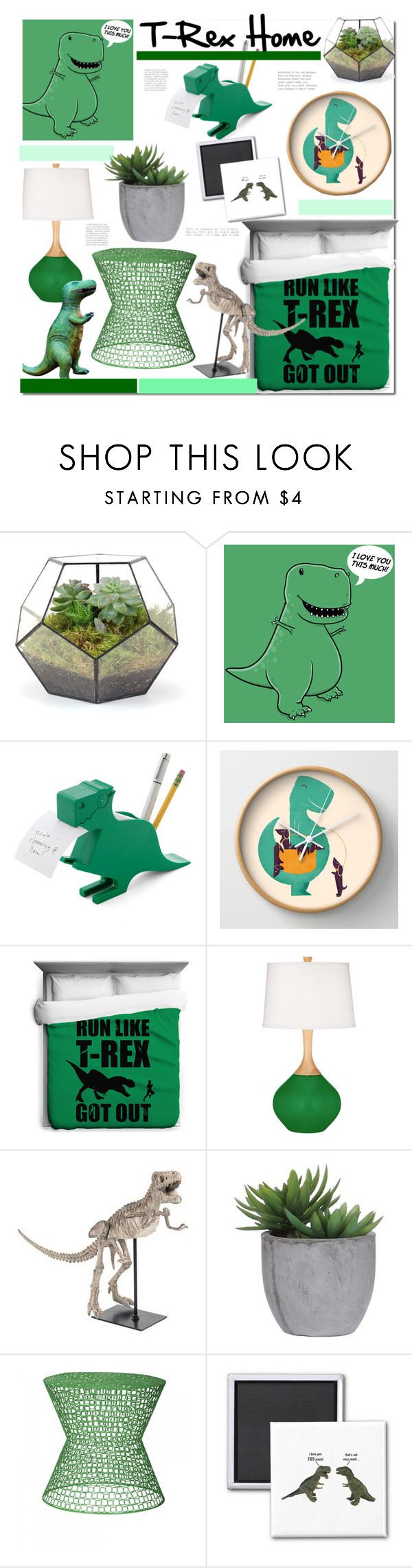 """""""T-Rex Home"""" by kusja ❤ liked on Polyvore featuring interior, interiors, interior design, home, home decor, interior decorating, Kikkerland, Lux-Art Silks, Sasson Home and Dinosaurs"""