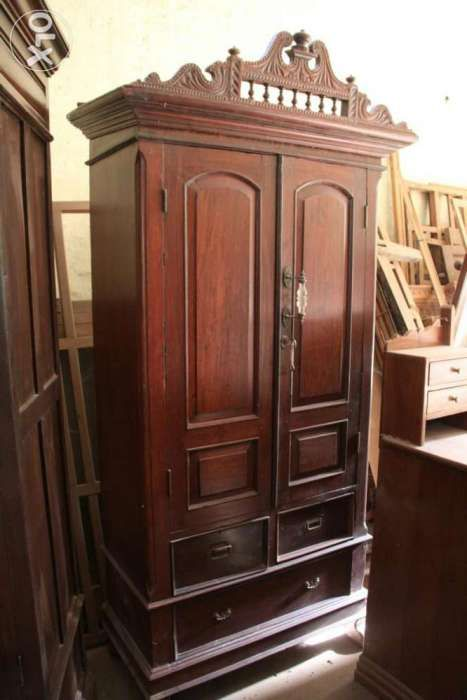 4 Burma Teak Antique Almirahs And Wooden Carving Partitions