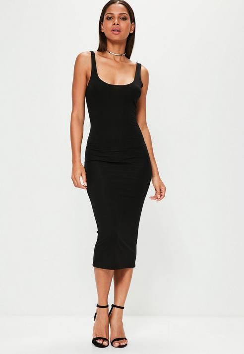 f963bbfab4fe Missguided Black Scoop Neck Bodycon Midi Dress | одежда | Dresses ...