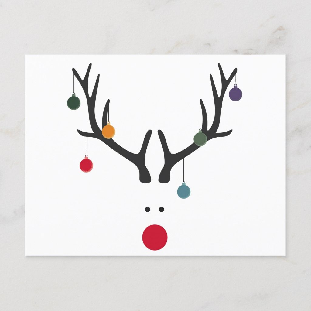 Modern funny abstract Christmas reindeer on white Holiday Postcard | Zazzle.com