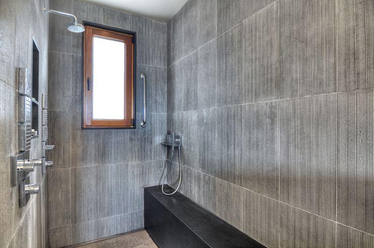 Garneau Residence Stone Shower Walls Residential Interior Design