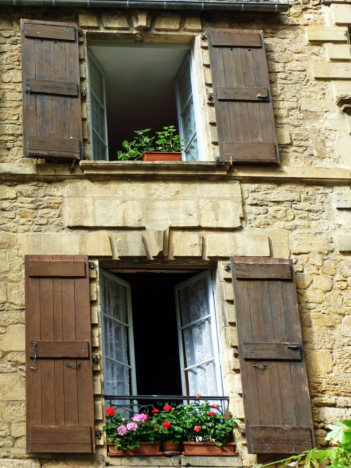 Rustic shutters and geraniums sarlat home ideas in - Rustic home exterior color schemes ...