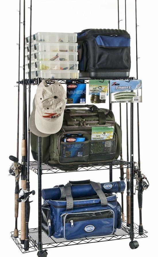 Fishing Tackle Storage Cart Reels Rod Rack Organizer Trolley Pol Box Bag Case