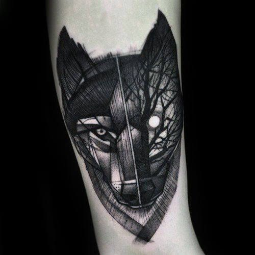 40 Wolf Forearm Tattoo Designs For Men Masculine Ink Ideas Geometric Tattoo Geometric Wolf Tattoo Tattoos