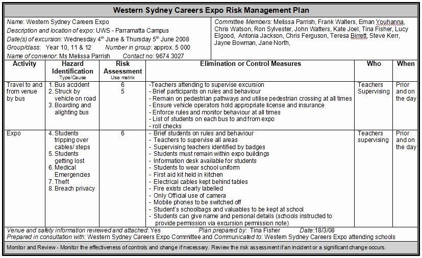 Risk Management Plan Template Doc Elegant the Natural