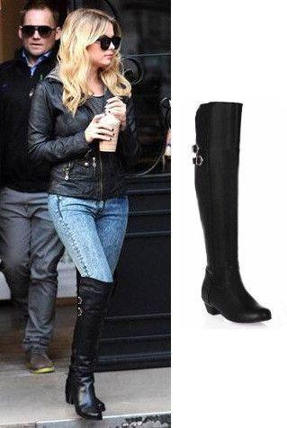 6bd3f923aa0 Ashley Benson Black Knee High Boots