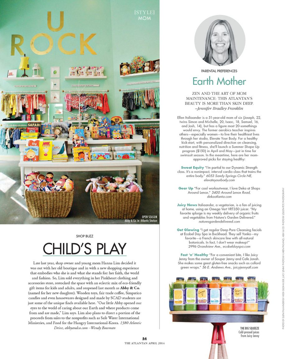 ATLA  April 2014 ... Please check out my story on a neat new store at Atlantic Station in the new issue of The Atlantan magazine!