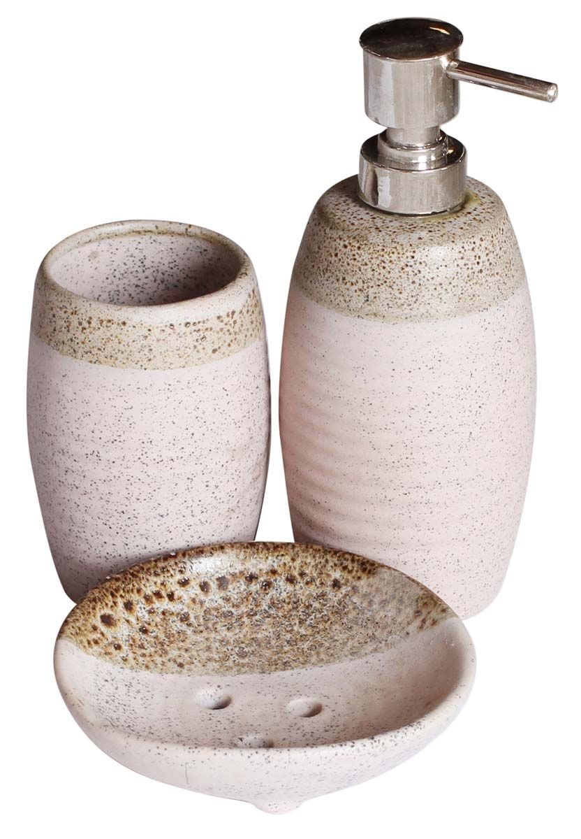 Bulk Whole Handmade Ceramic Bath Accessories Set 3 Items Handpainted Pink Sandy Brown Ensemble Vanity
