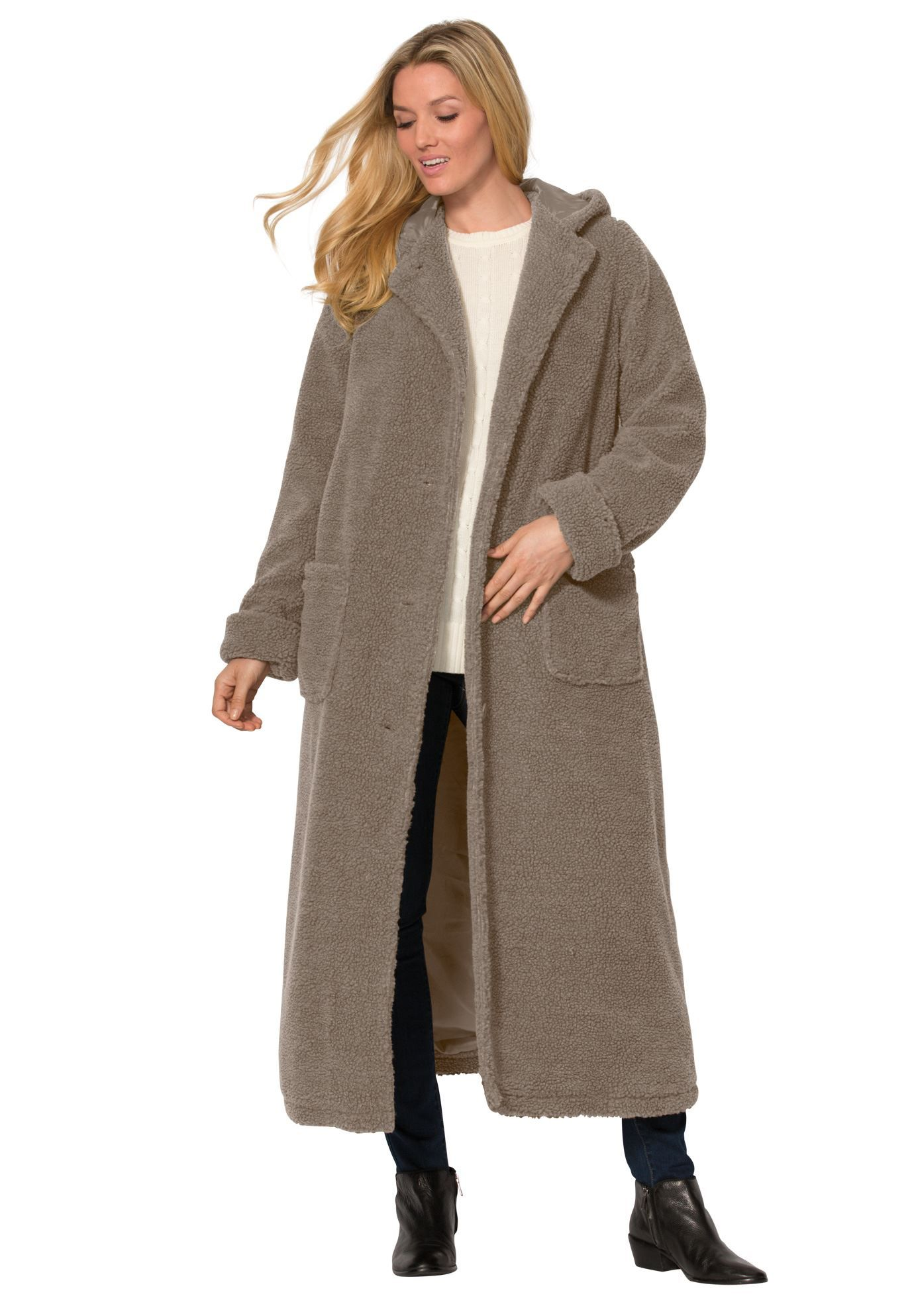 5b7cfb9f47a Hooded Berber Fleece Duster Coat - Women s Plus Size Clothing