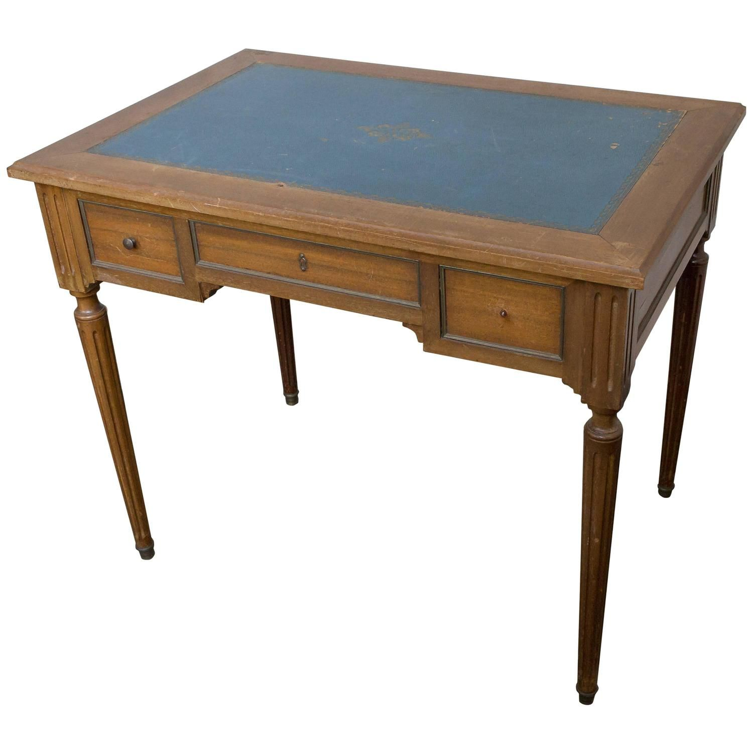 Small Mahogany Writing Desk With Blue Green Leather Top 1
