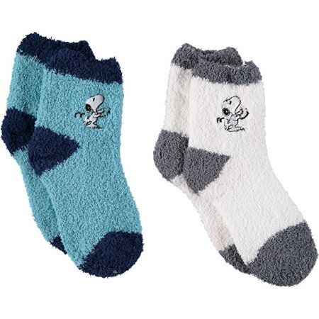 Peanuts Solid Snoopy Fuzzy Socks 2 Pack Size 6 8 5 Turquoise