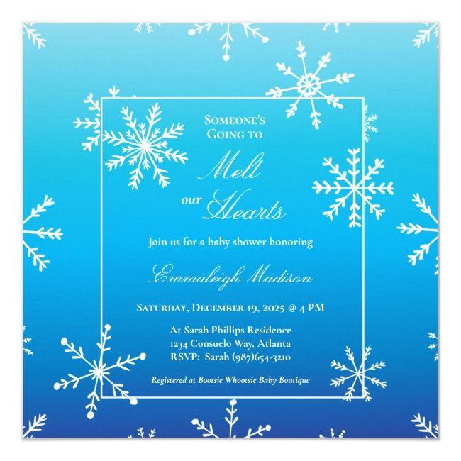 Blue Snowflake Winter Wonderland Baby Shower Invitation | Zazzle.com #winterwonderlandbabyshowerideas
